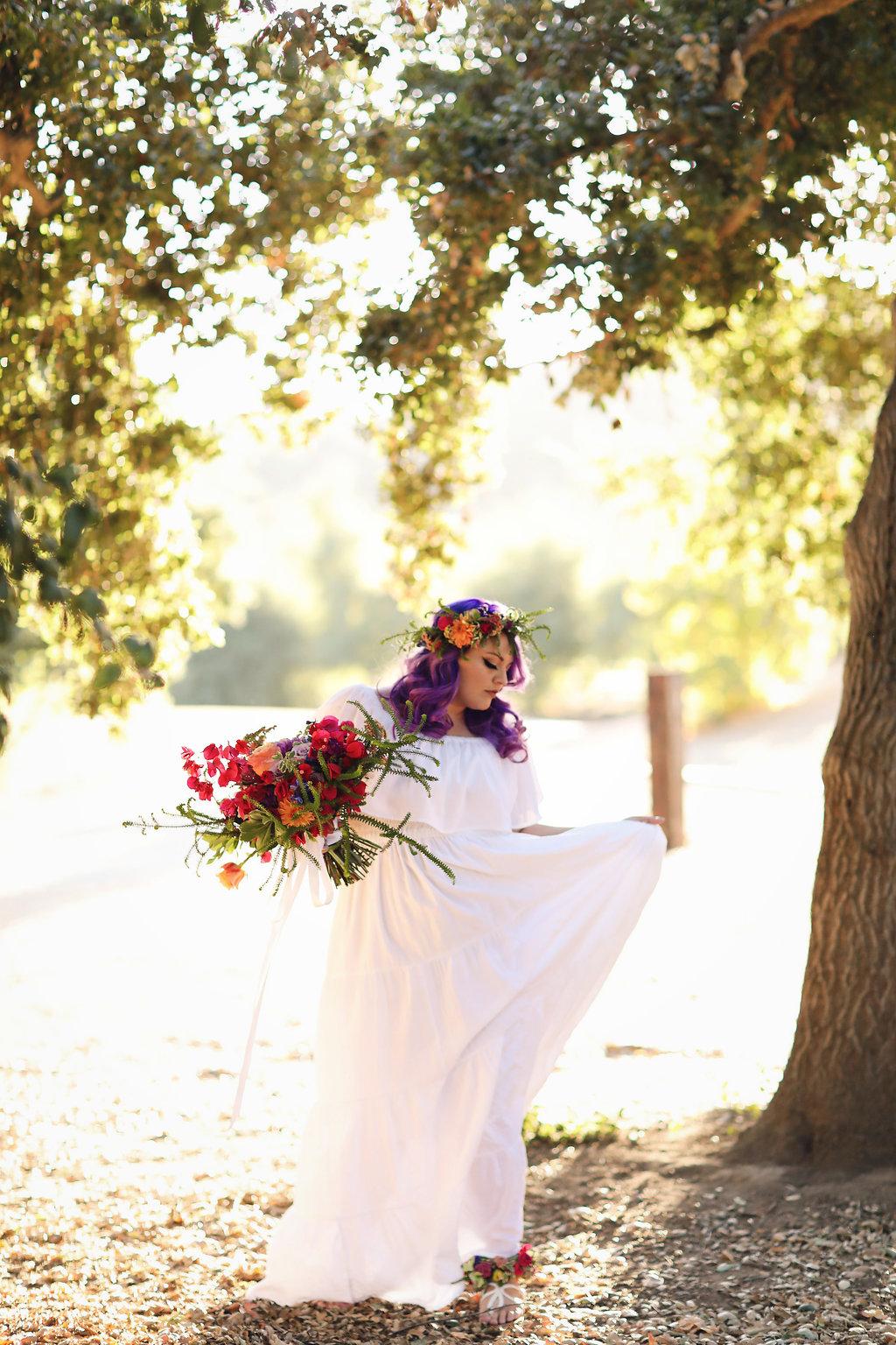 Ultra violet bride at Chateau Adare wedding venue in Murrieta, California. Dress Hippie Boho Shop