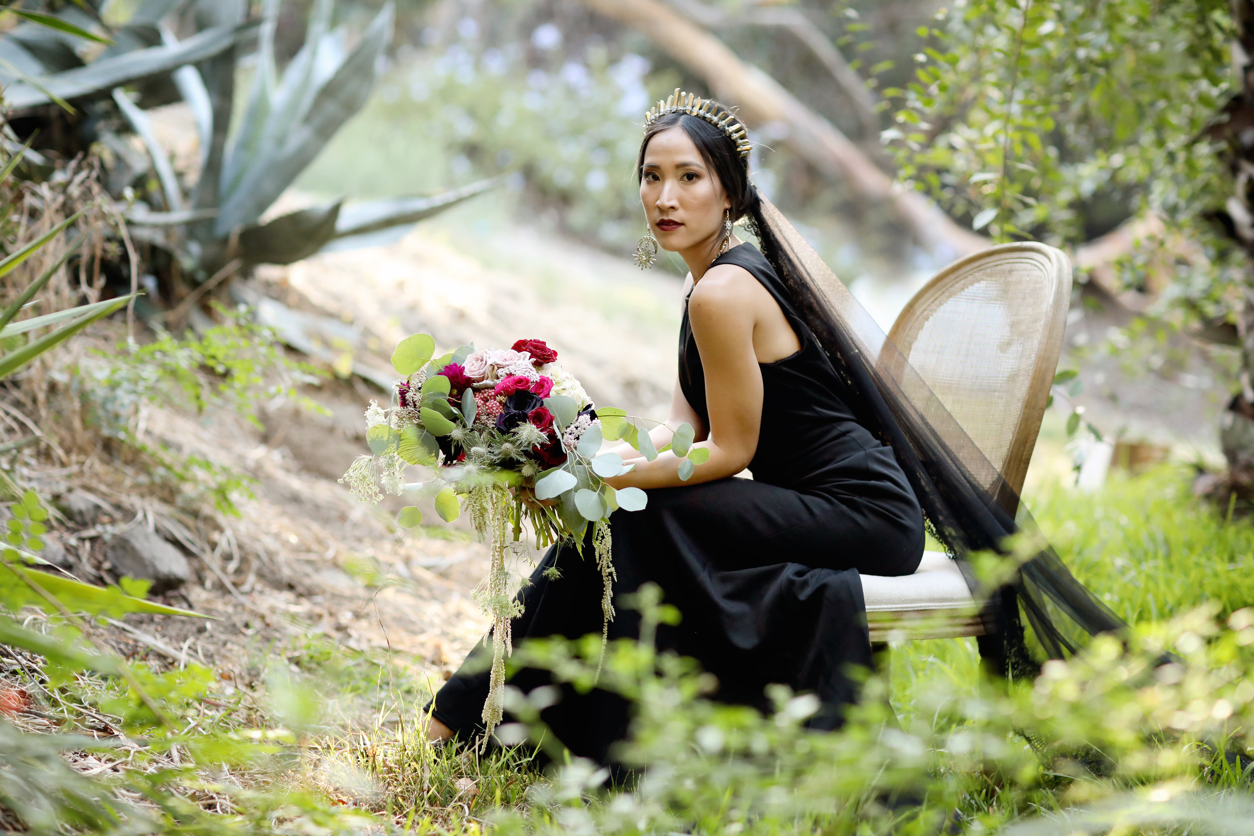 Black bride dress at the beach with this Orange County bride.