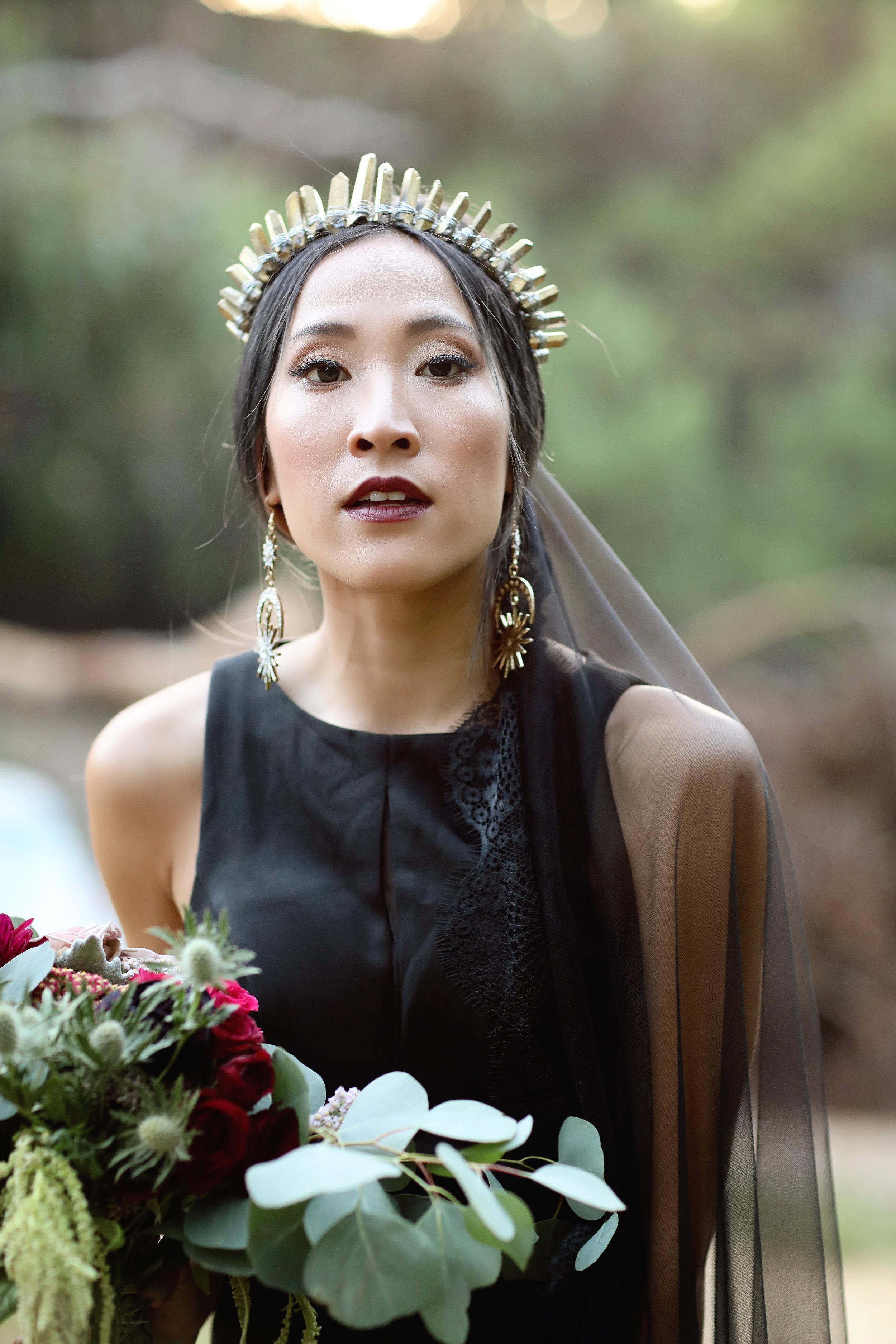 Black wedding dress and black veil. Orange County Bride.