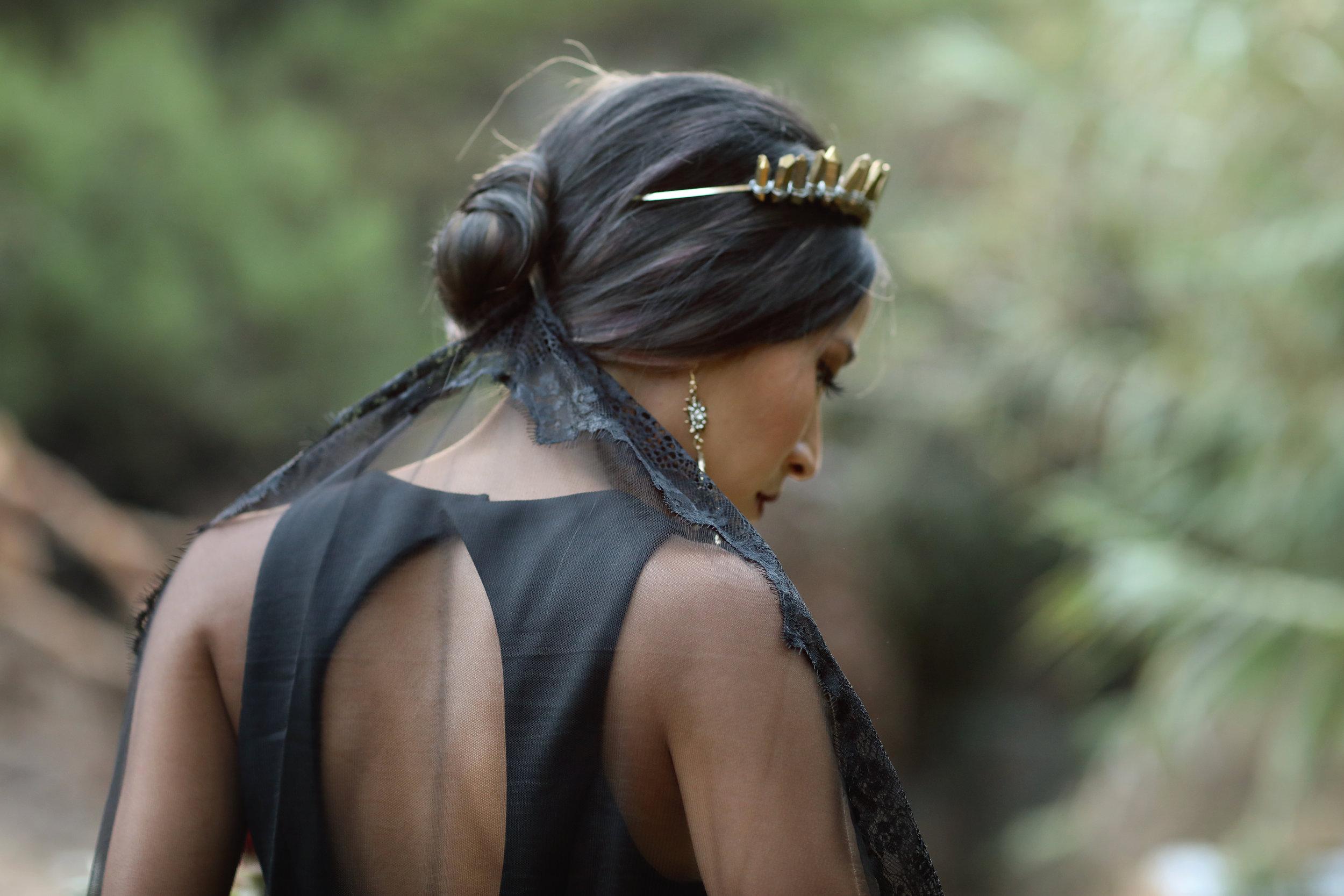 Black wedding dress, black veil, gold crown. Southern California Bride.