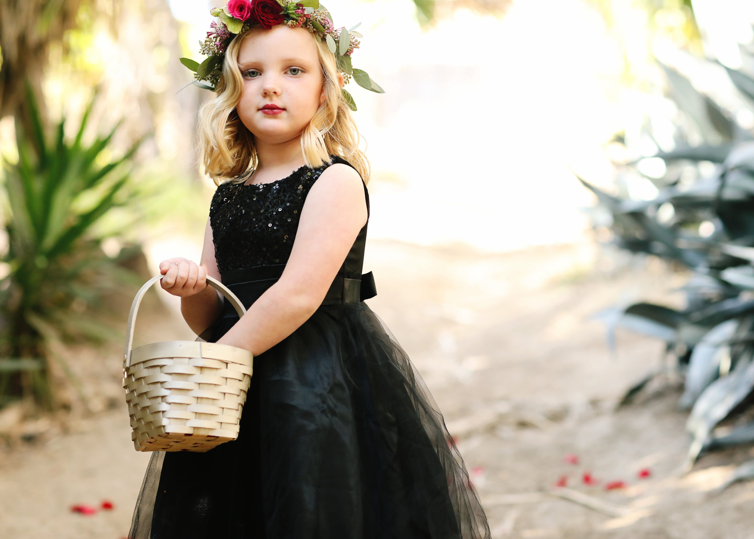 Black sequin and tulle lace flower girl dress in Orange County.