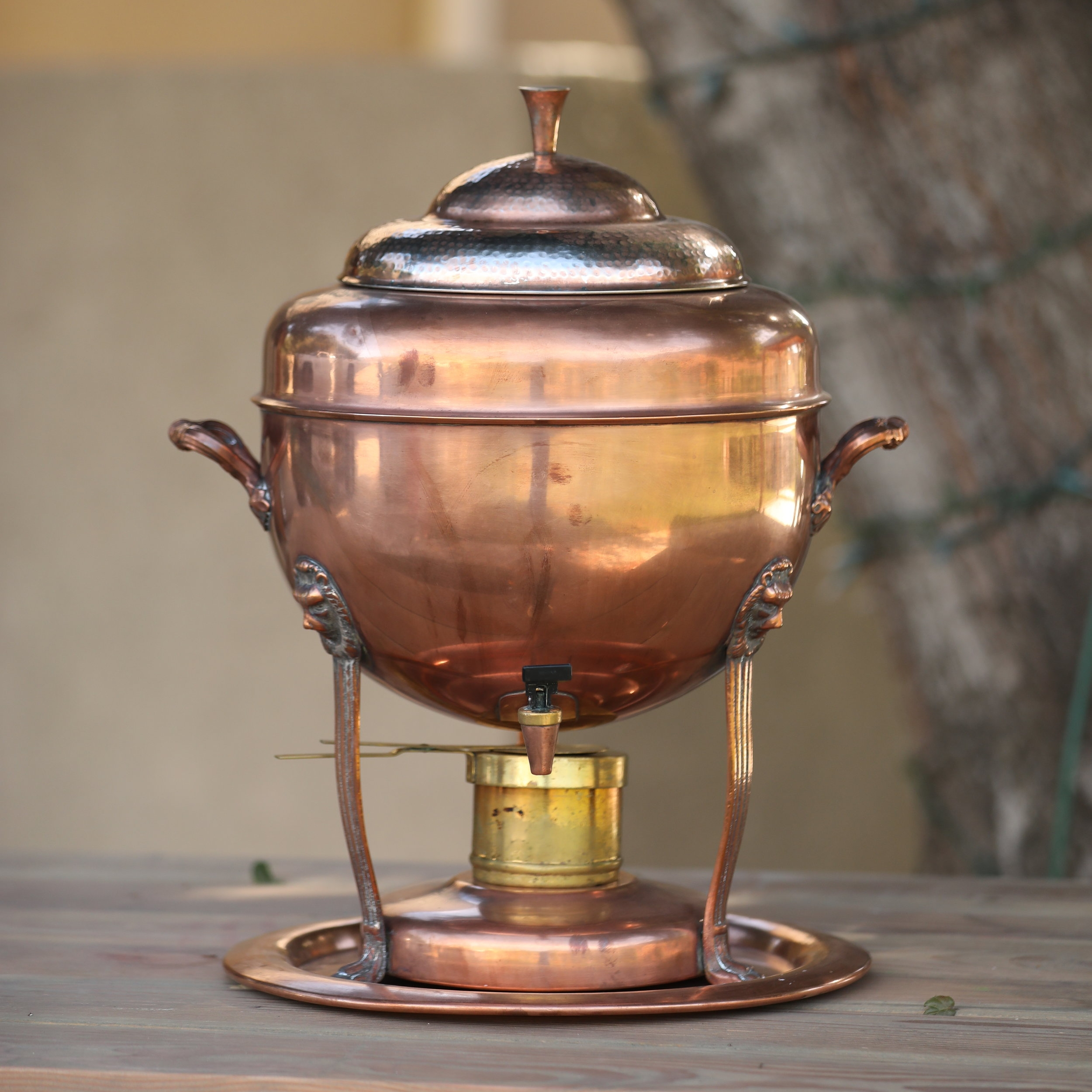 """Copper Samovar   100 cup copper Samovar/ coffee urn. Does not brew coffee. Sterno. Intricate design with lions on the legs. 21.5"""" tall x 18"""" wide."""