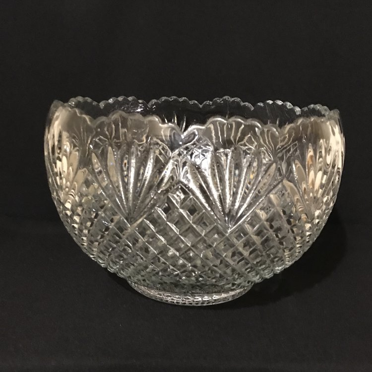"Diamond Pattern Punch Bowl   Heavy cut glass punch bowl with diamond fan pattern. Ruffled edge. 13"" round x 9"" tall. Stunning. Great for salads too."