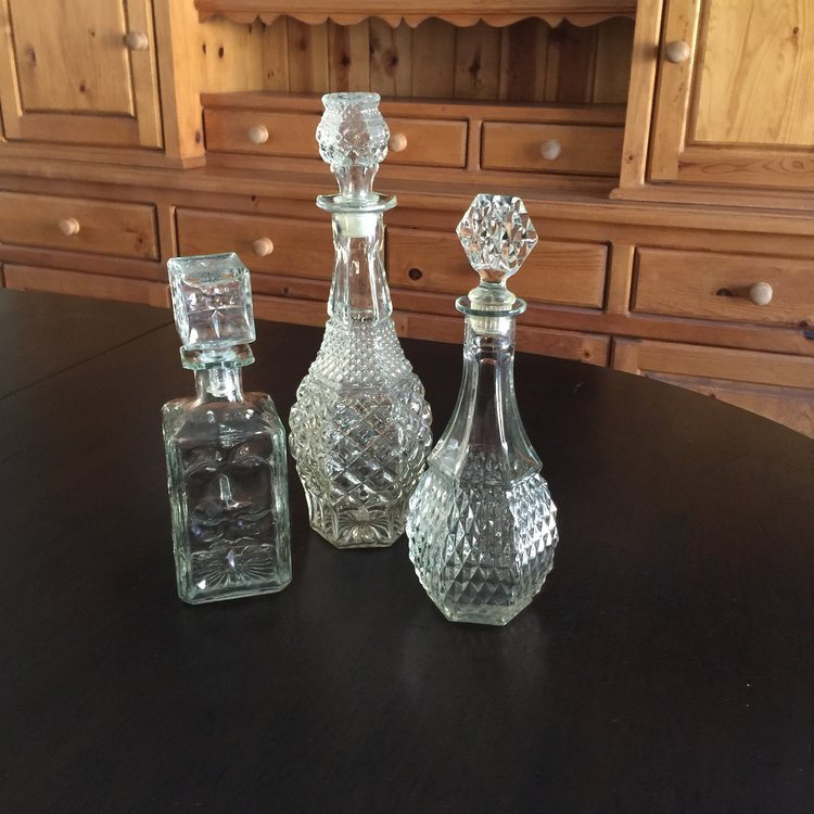 Cut Glass Decanters   Vintage decanters.  Perfect for everything from water to wine.  Great Mid-century Modern barware.