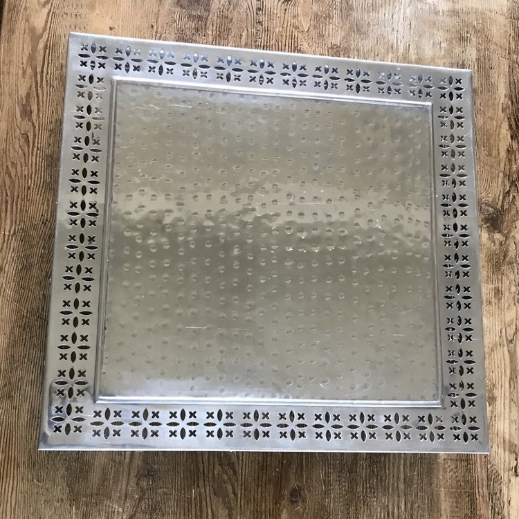 """Square Silver Cake Stand   Beautiful polished silver cake stand with intricate design around edge. 20"""" square. Looks great with round or square cakes."""