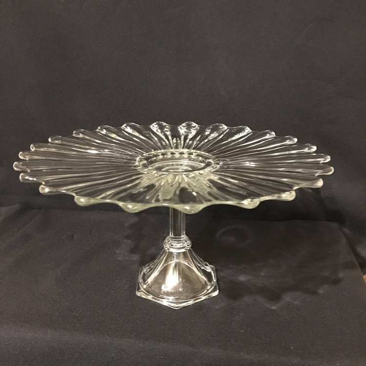 """Flower Pedestal Cake Platter   Cut glass pedestal platter with a scalloped edge. Looks like a flower. 14.5"""" round x 8"""" tall. Also perfect for a cake plate."""
