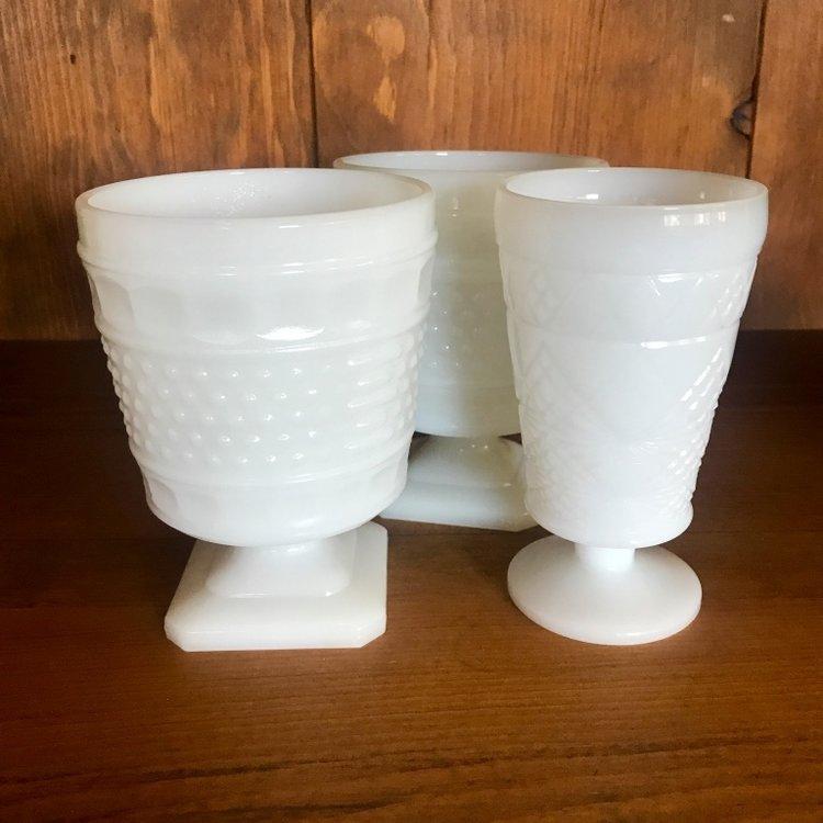 Vintage milk glass vases mismatched rentals.