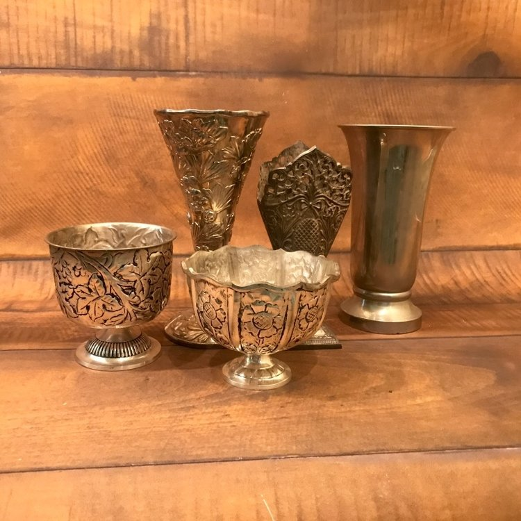"""Silver Vessels   6""""-12"""" tall.  Mismatched and vintage. Great for bouquets"""
