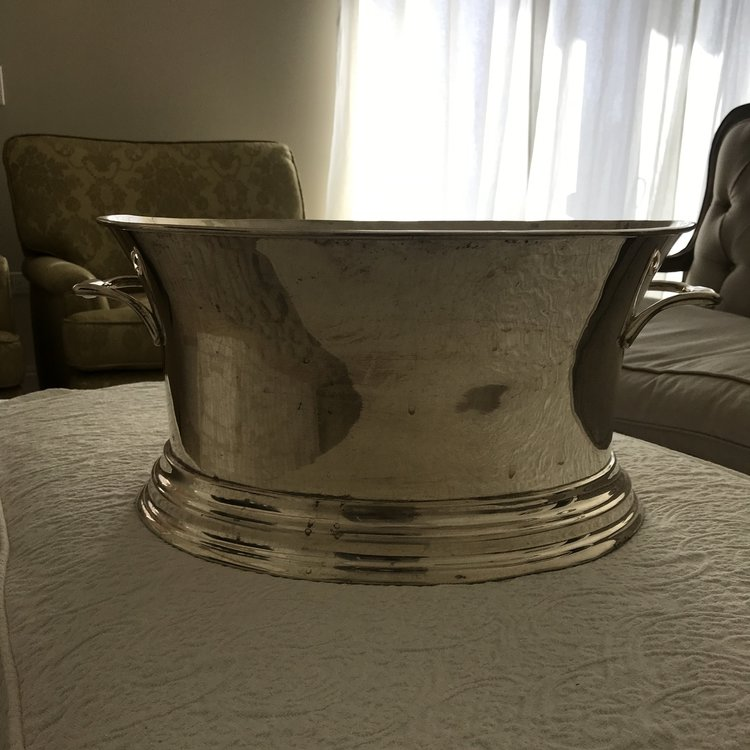"""Large Silver Vessel   14.5"""" oval x 8.5"""" tall.  Overall 19"""" with handles."""