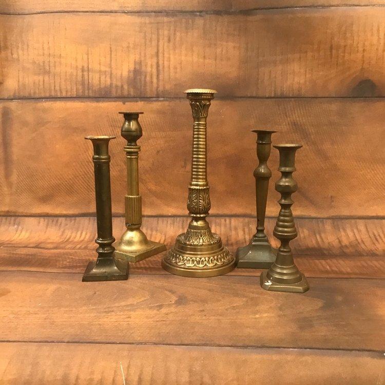 """Medium Brass Candlesticks   8""""-13"""" tall. All mismatched."""