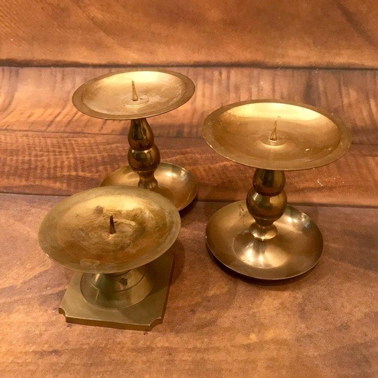 """Brass Pillar Candlesticks   3""""-5"""" tall. Mismatched."""