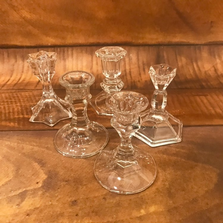 "Short Crystal Candlestick   3""-5"" tall. Mismatched."