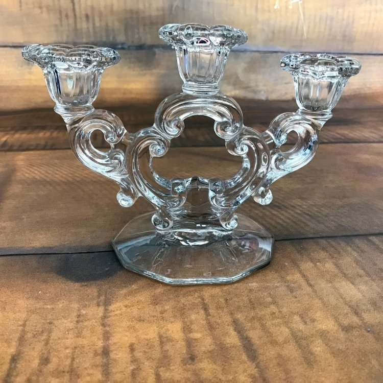 Three Arm Crystal Candelabra   These come in a pair.