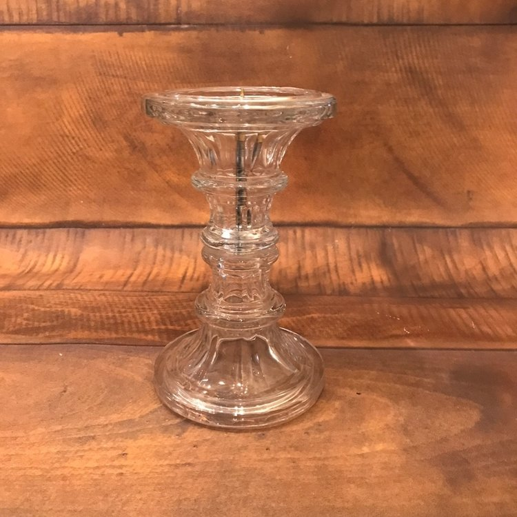 "Crystal Pillar Candlestick   14"" inches tall. Fits up to 4 inch pillar candle."