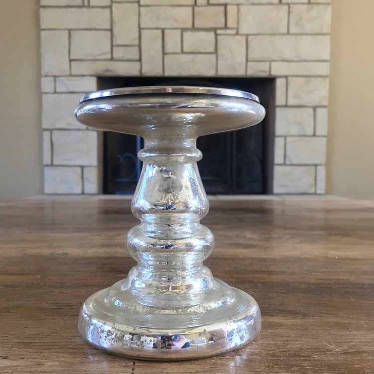 "Small Mercury Glass Candlesticks   Silver Mercury Glass candlesticks ranging from 5.5"" to 8.5"""