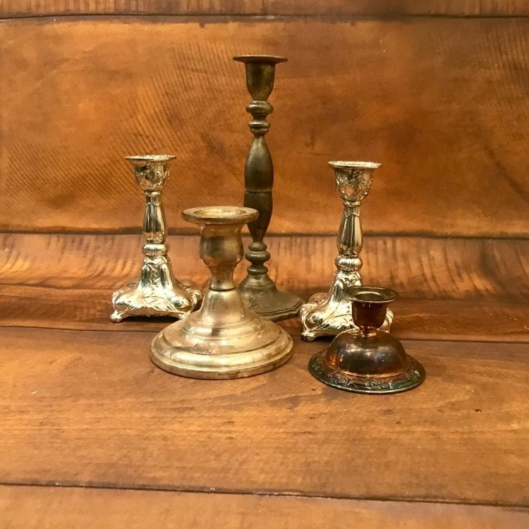 "Silver Candlesticks   4""-10"" tall.  Mismatched. Polished or Shabby Chic."