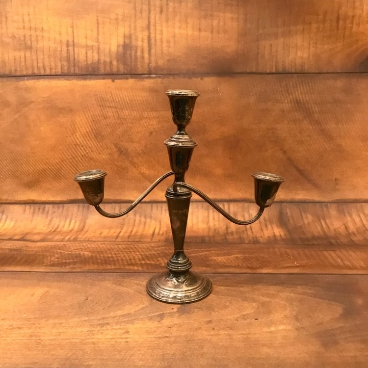 "Silver Candelabra   10""-12"" tall.  Comes in a pair."