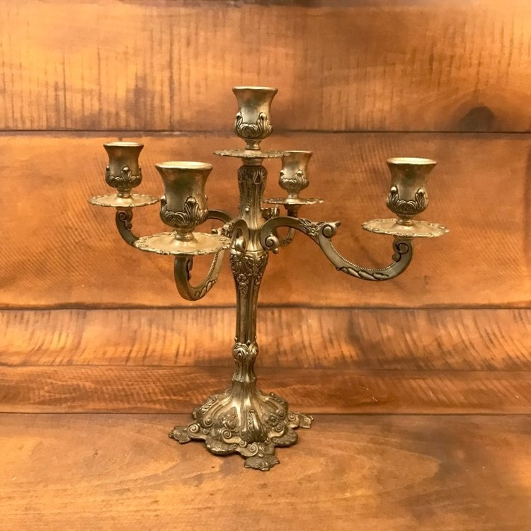 "Four Arm Silver Candelabra   12"" tall.  Holds five taper candles."