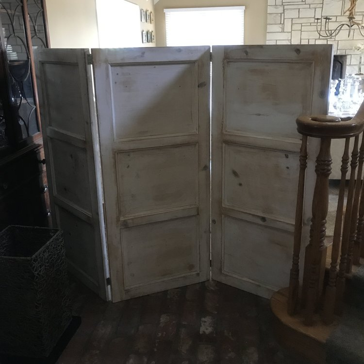 """Bertha   Tri-fold Shabby Chic white wooden room divider or backdrop. 25"""" x 57"""" each panel."""