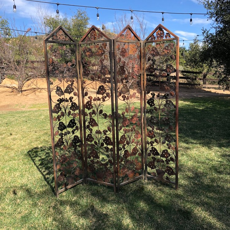 """Laurel   Rustic grapevine quad fold screen. Perfect standing alone or with added embellishments. Each panel 78"""" tall x 18"""" side."""