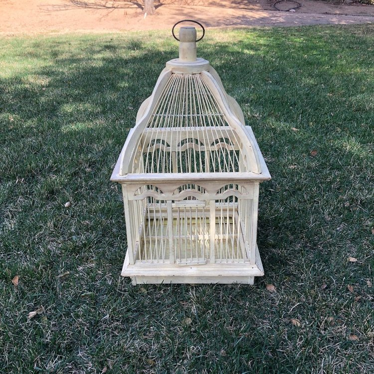 """Yellow Birdcage   Yellow vintage wooden birdcage. Great for use as a card holder. 27"""" high x 14"""" square."""