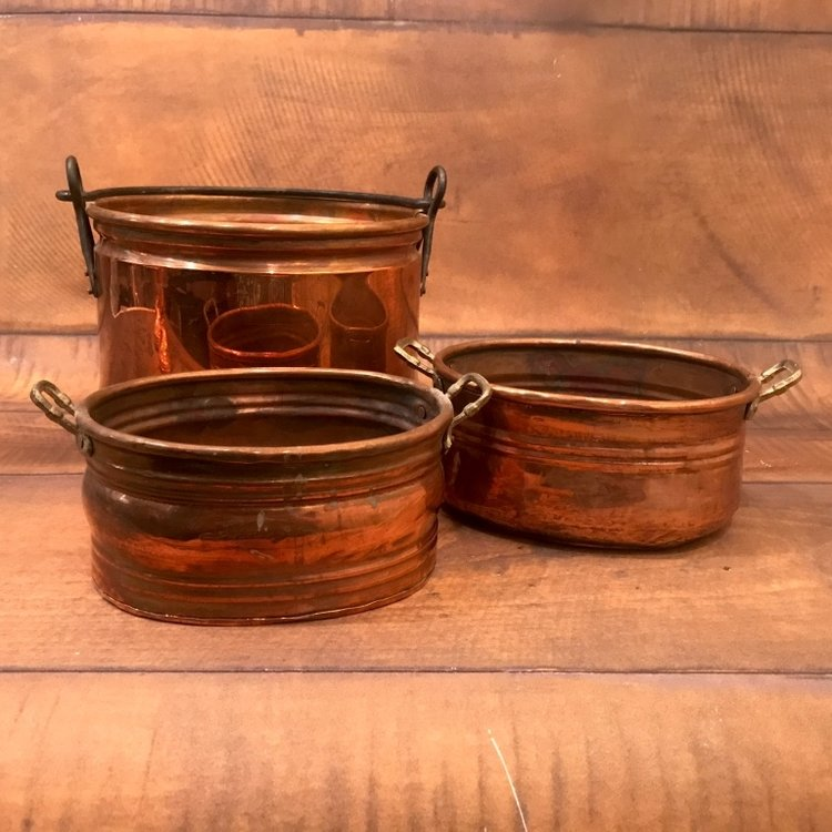 """Copper Pots   8""""-10"""" round and ovals. Mismatched."""