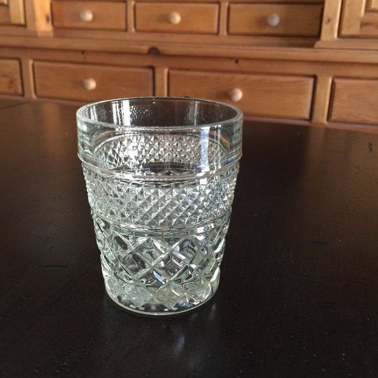Rocks Glasses   Vintage assorted clear cut glass rocks glasses. Perfect for a scotch bar! Mid-century Modern barware. Mismatched. Short.