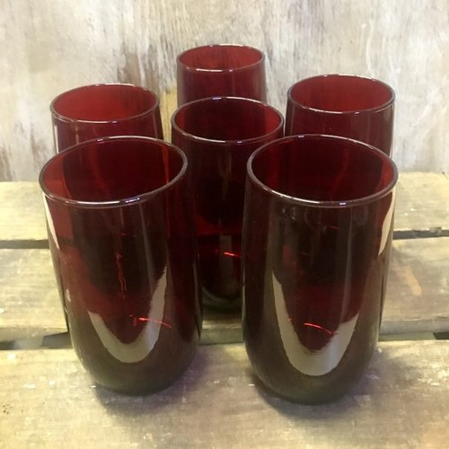 Ruby Glass Tumblers   8 oz size. Mixes with Ruby Goblets.