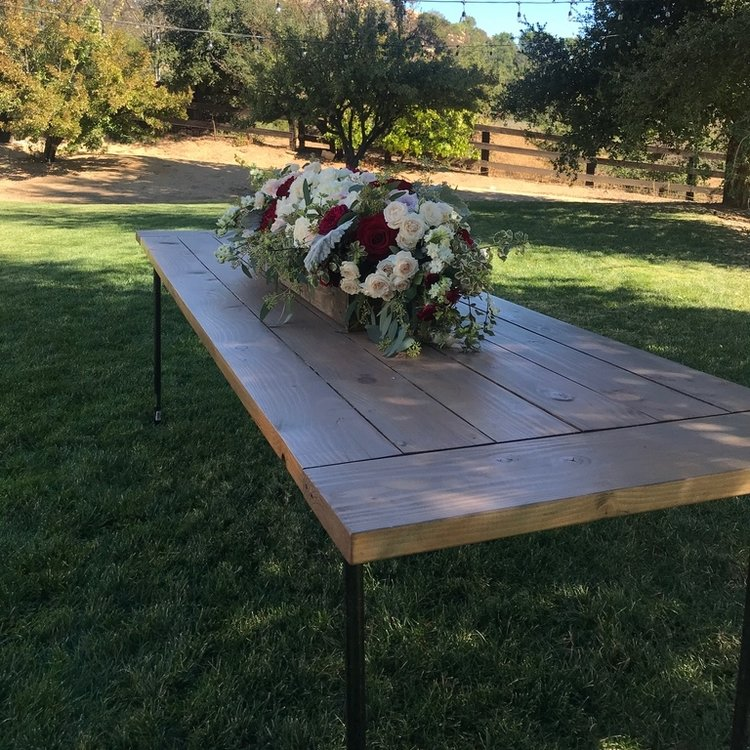 """Farm Tables   Not your average size farm tables, these industrial chic tables fit 10 people comfortably. 36"""" wide x 108"""" long x 30"""" high."""