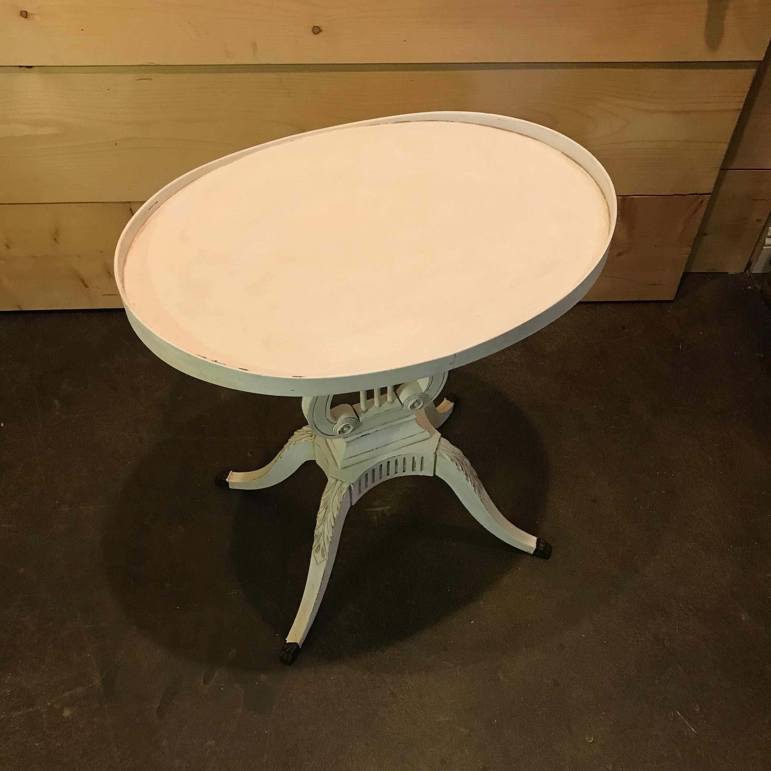 Harp table painted white chalk paint, distressed, and antiqued.