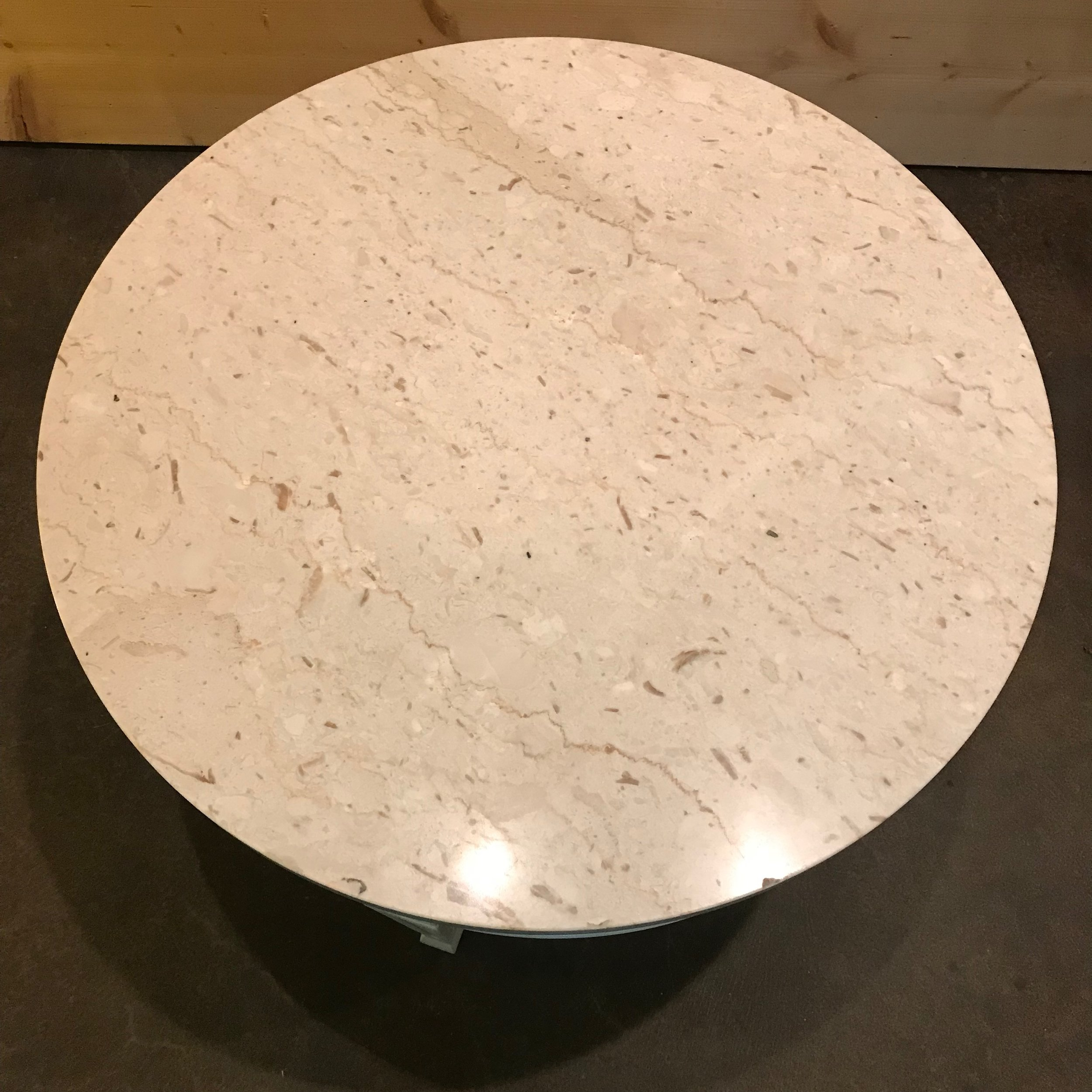 Marble topped Mid-century modern side tables painted in white chalk paint.