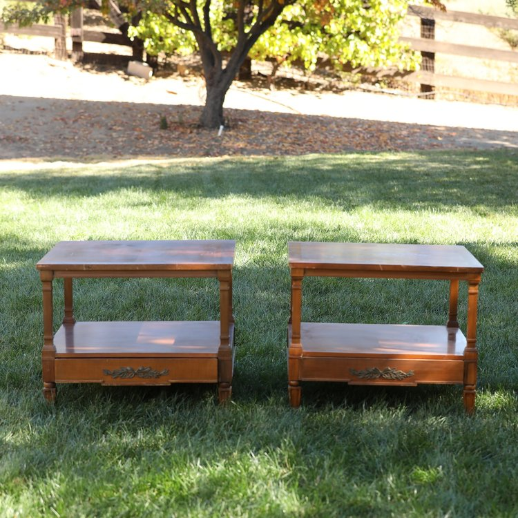 """The Haynes Sisters   Wooden, Mid Century Modern, table with shelf, drawer with metal embellishment. 26"""" square by 22"""" high."""