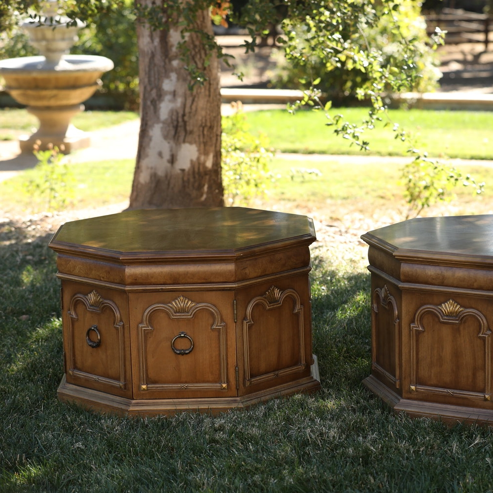 Chip and Dale   Mid-century Modern hexagon side tables with one opening cupboard.
