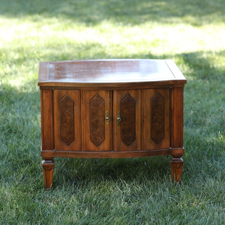 """Ian   Mid Century Modern two door side table. 26"""" sculpted square by 21"""" tall"""