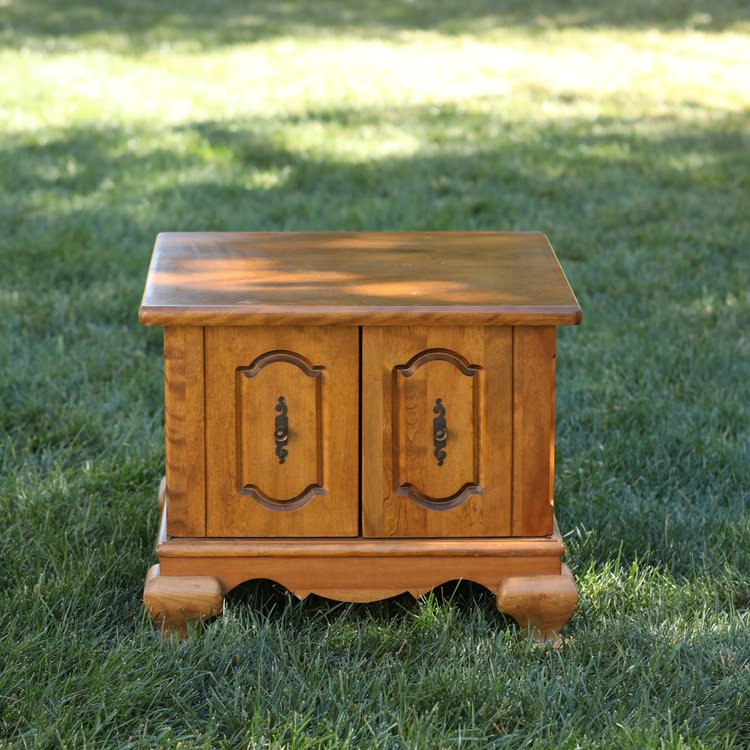 """Bernard   Wooden two door accent table. Chunky feet. 24"""" square by 20.5"""" high."""