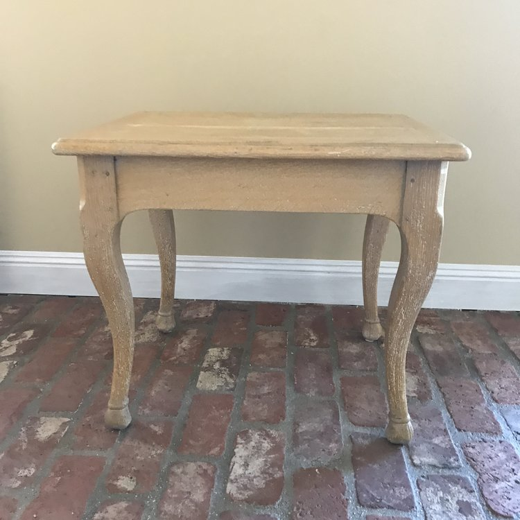 """Pierre   French limed oak side table imported from France. Wooden dowel construction. Rectangle 21.5"""" x 27"""". 23.5"""" high."""