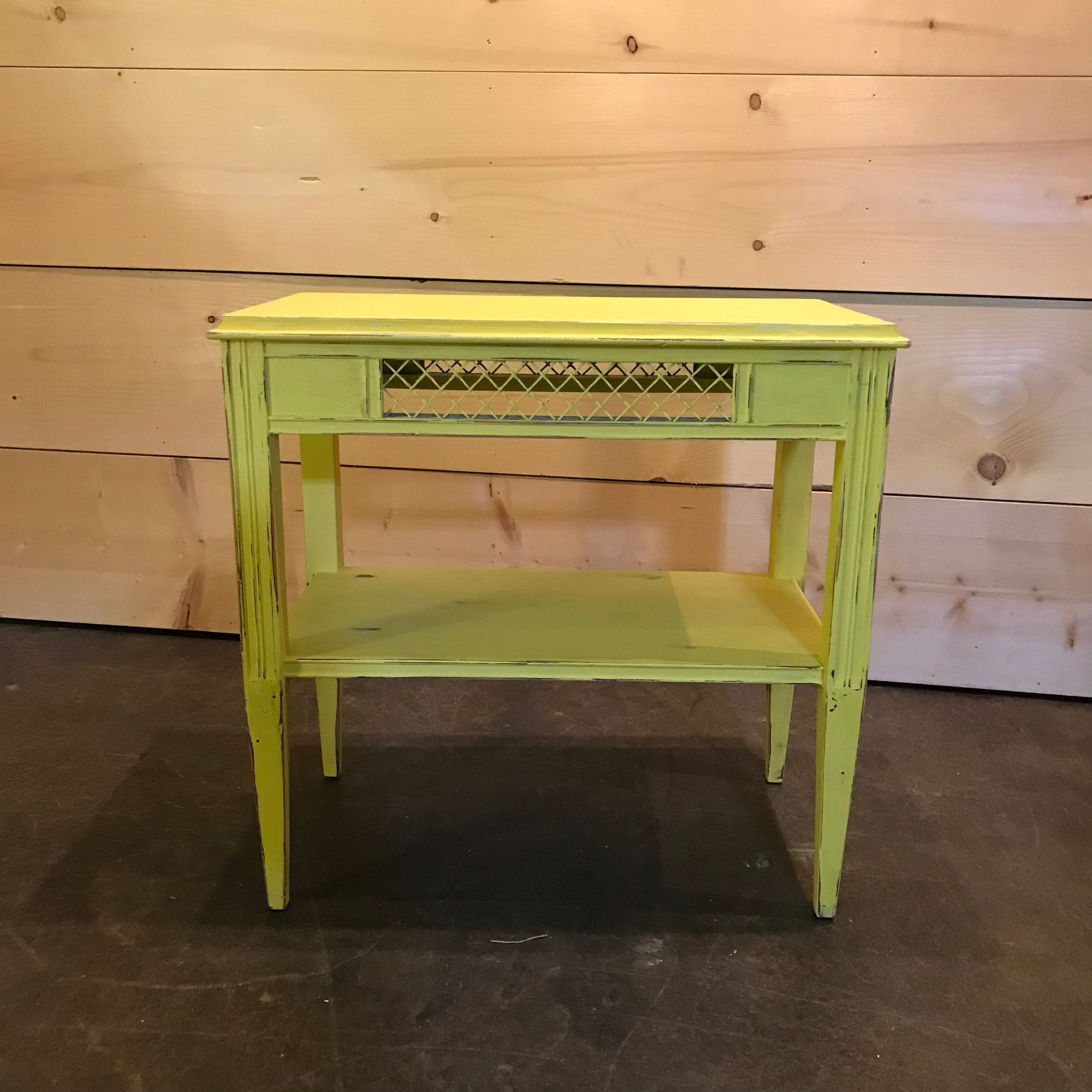 """Carolina   Rectangle side table with wire inserts. Chalk painted yellow for that pop of color. 23"""" tall x 23"""" wide x 14"""" deep"""