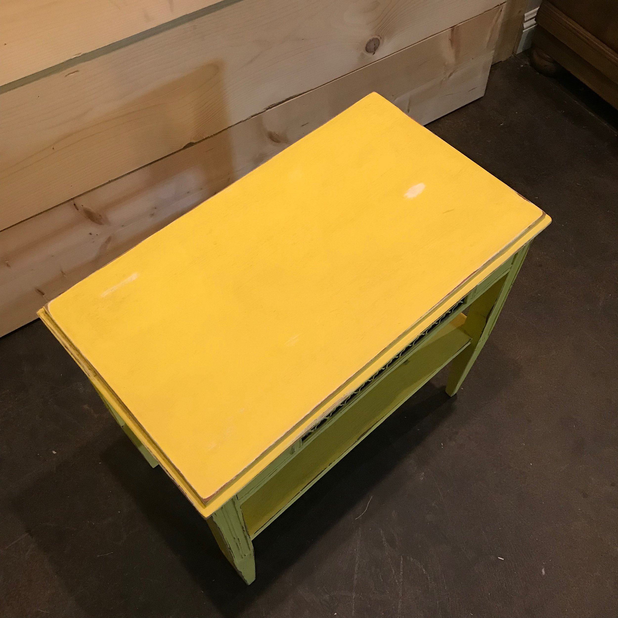 Vintage yellow chalk painted side table.