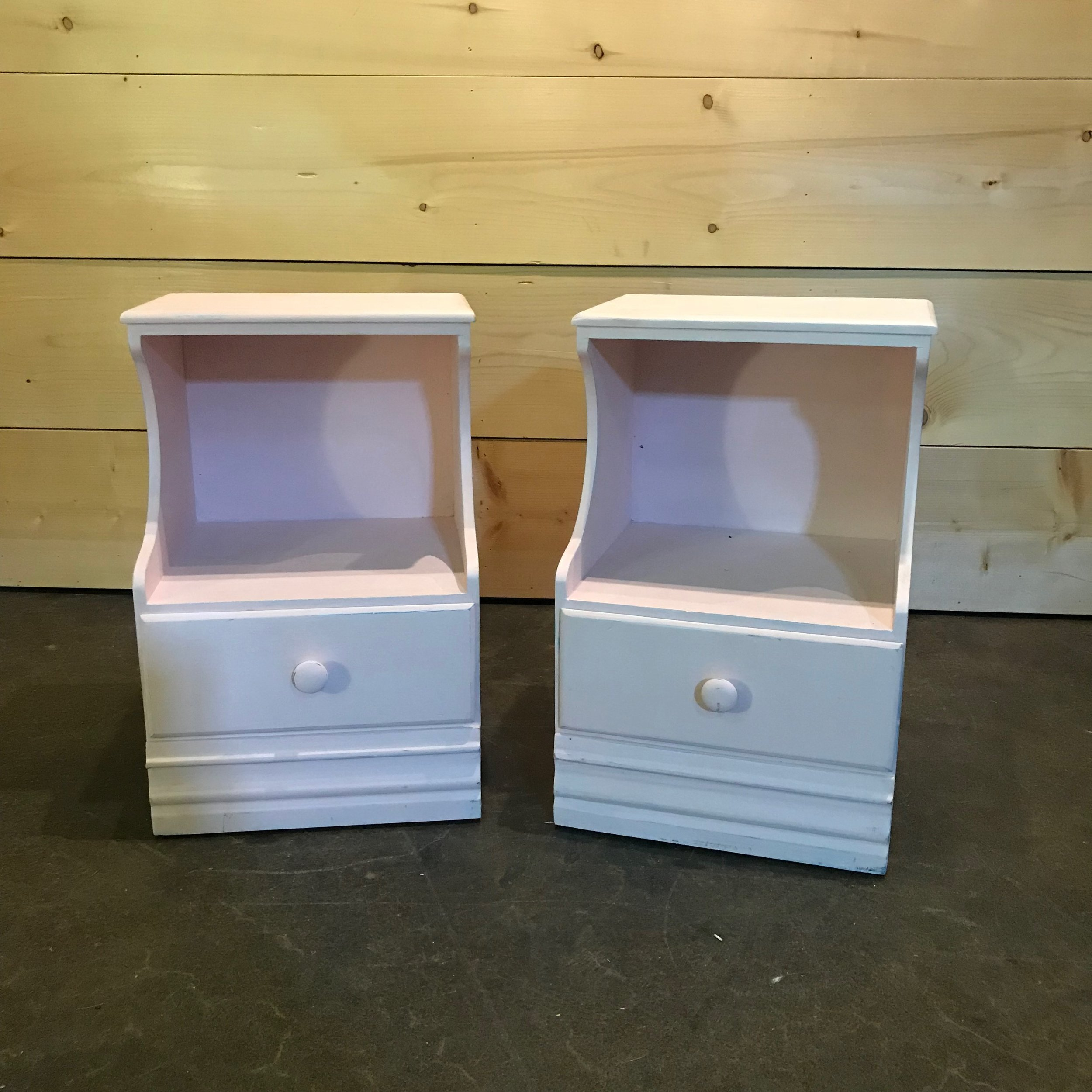 """Lavern and Shirley   Adorable pink side tables with two shelves and a drawer. 15"""" wide x 10"""" top shelf x 13"""" bottom shelf."""