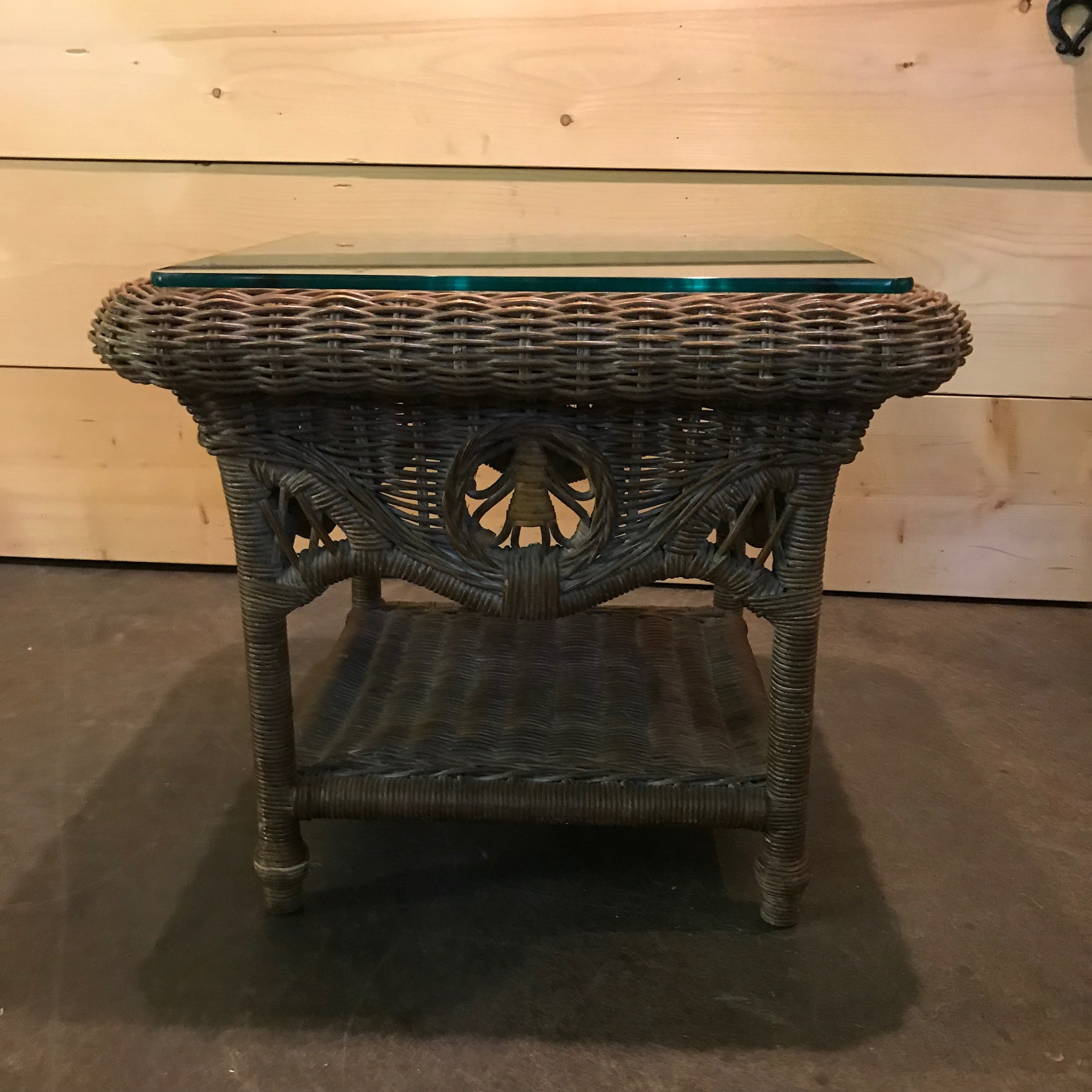 """Wiley   Boho wicker side table with bottom shelf and glass top. 20"""" tall x 23"""" square."""