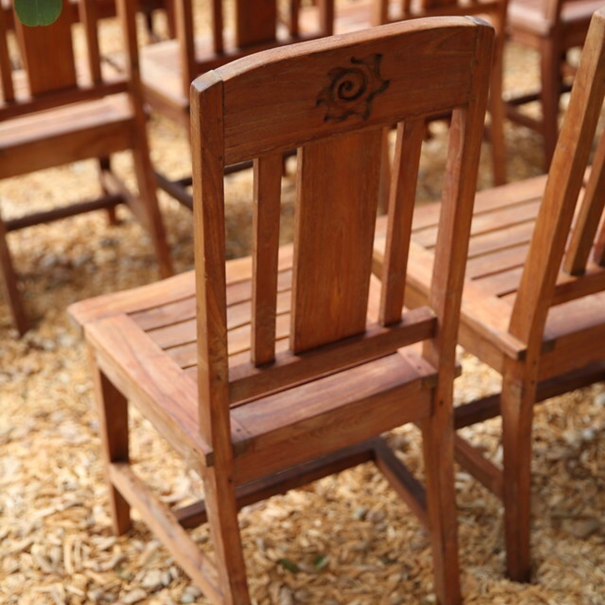 Sun Chair   Very sturdy oak shabby chic dining chair. Colors are varied. Great for that rustic look at a wedding.