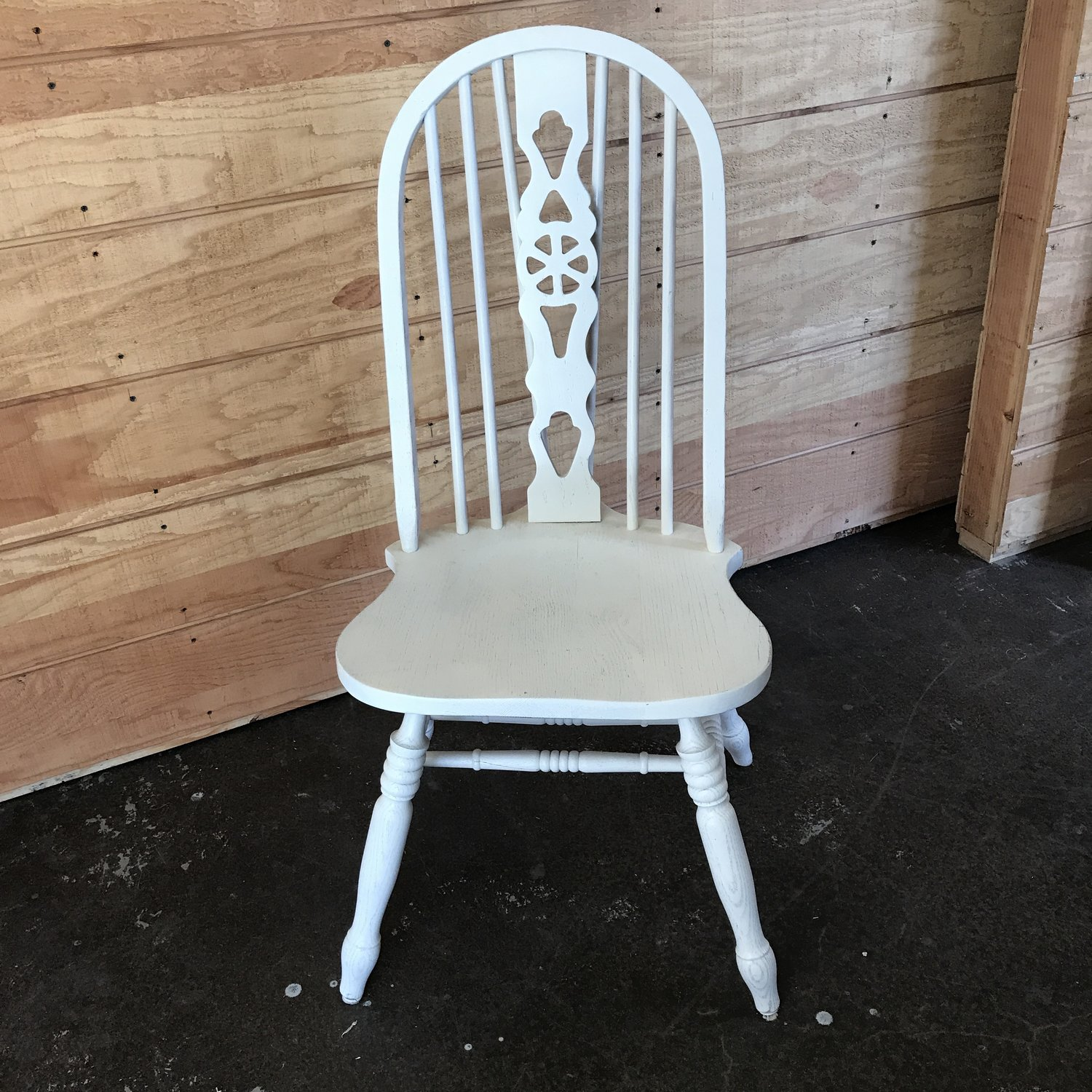 "Marnie   Wooden white curved back chair with spindles. 41"" tall x 20"" wide. Seat is 18"" high."