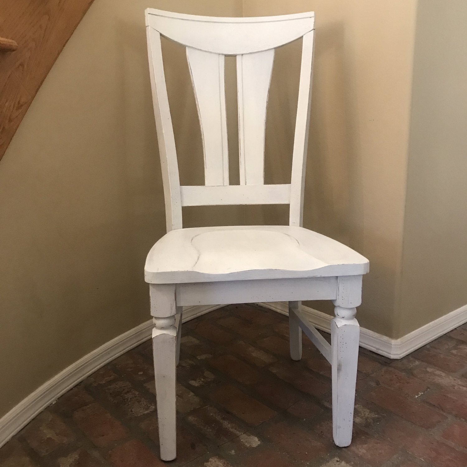 "Logan   Shabby Chic white chair with no cushion. Great choice for a sweetheart table or bride and groom at a head table. Very sturdy chair. Seat 18""x19.5"" Height 42"""