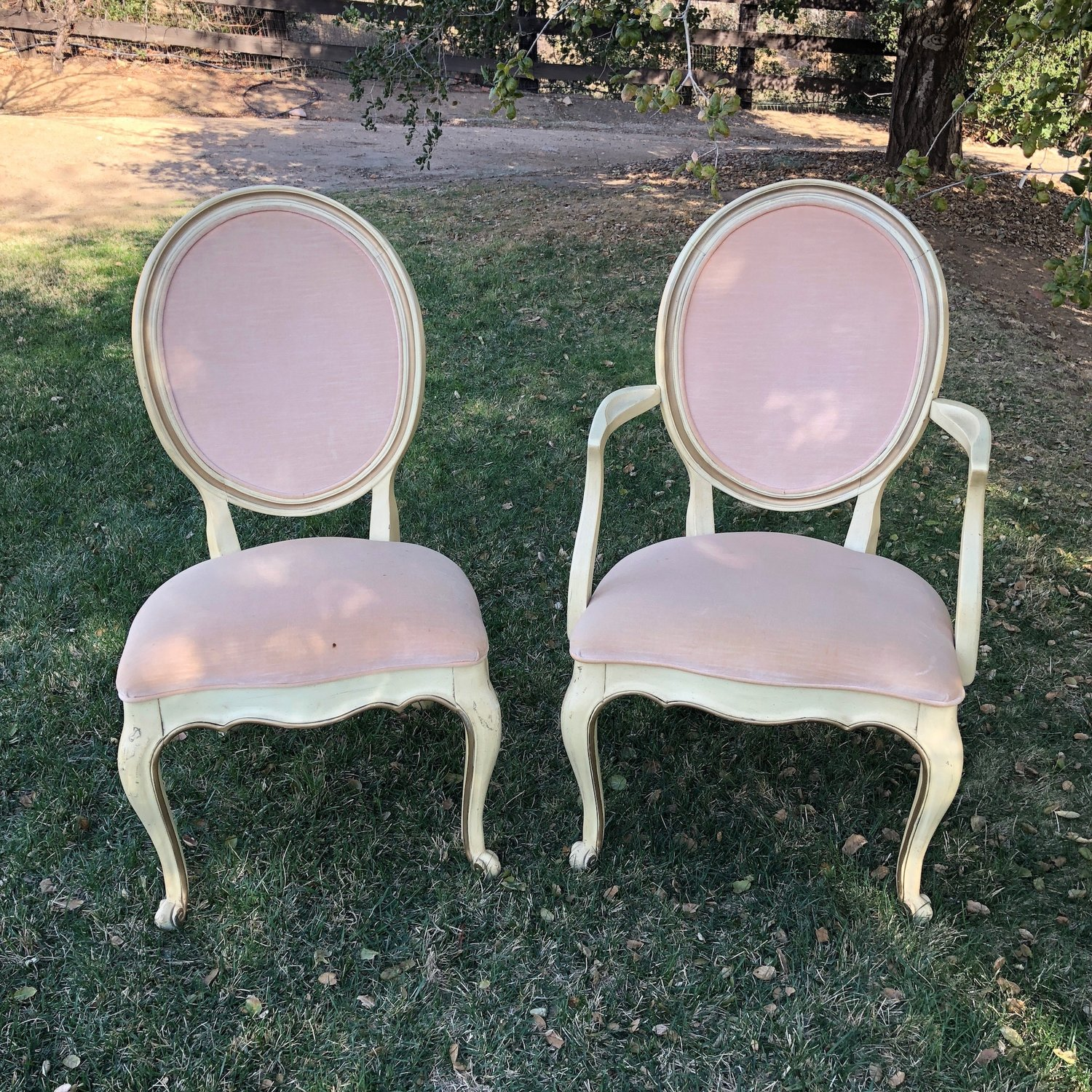 "Romeo and Juliet   These simply must come as a pair... Blush, oval back, sweetheart chairs with cream colored antiqued wood base. One with arms, one without. 40"" high x 22.5"" wide x 18.5"" deep."