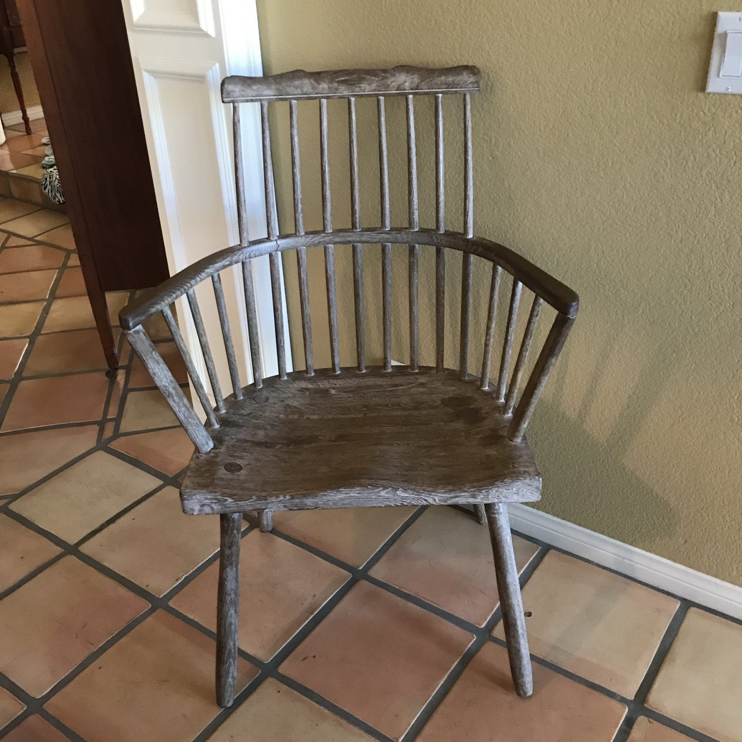 "Xander   Bow back, spindle, distressed white washed oak chair. 40"" tall x 28"" wide"