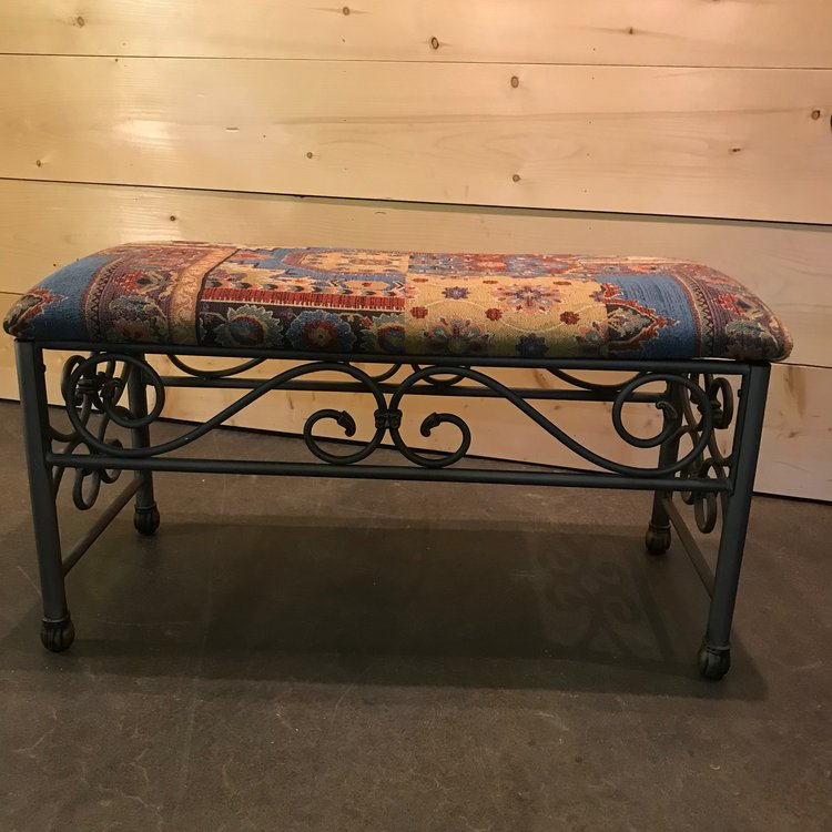"Samson   Two upholstered tapestry benches with a metal scrolled base. Very Boho. 40"" wide x 18"" deep x 22"" high."