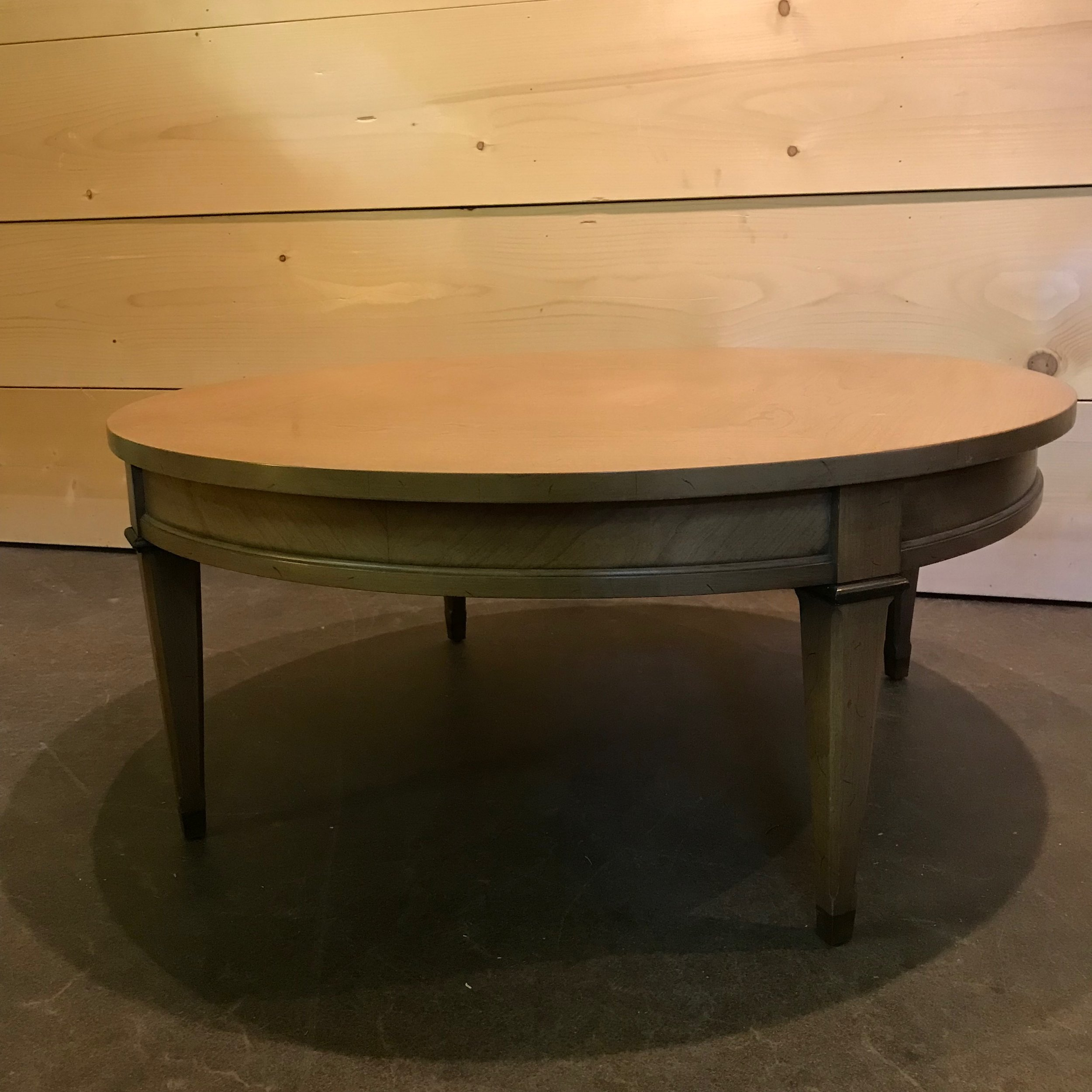 "Sonny  Mid Century Modern round coffee table with detailed legs. 15"" high x 35"" round."