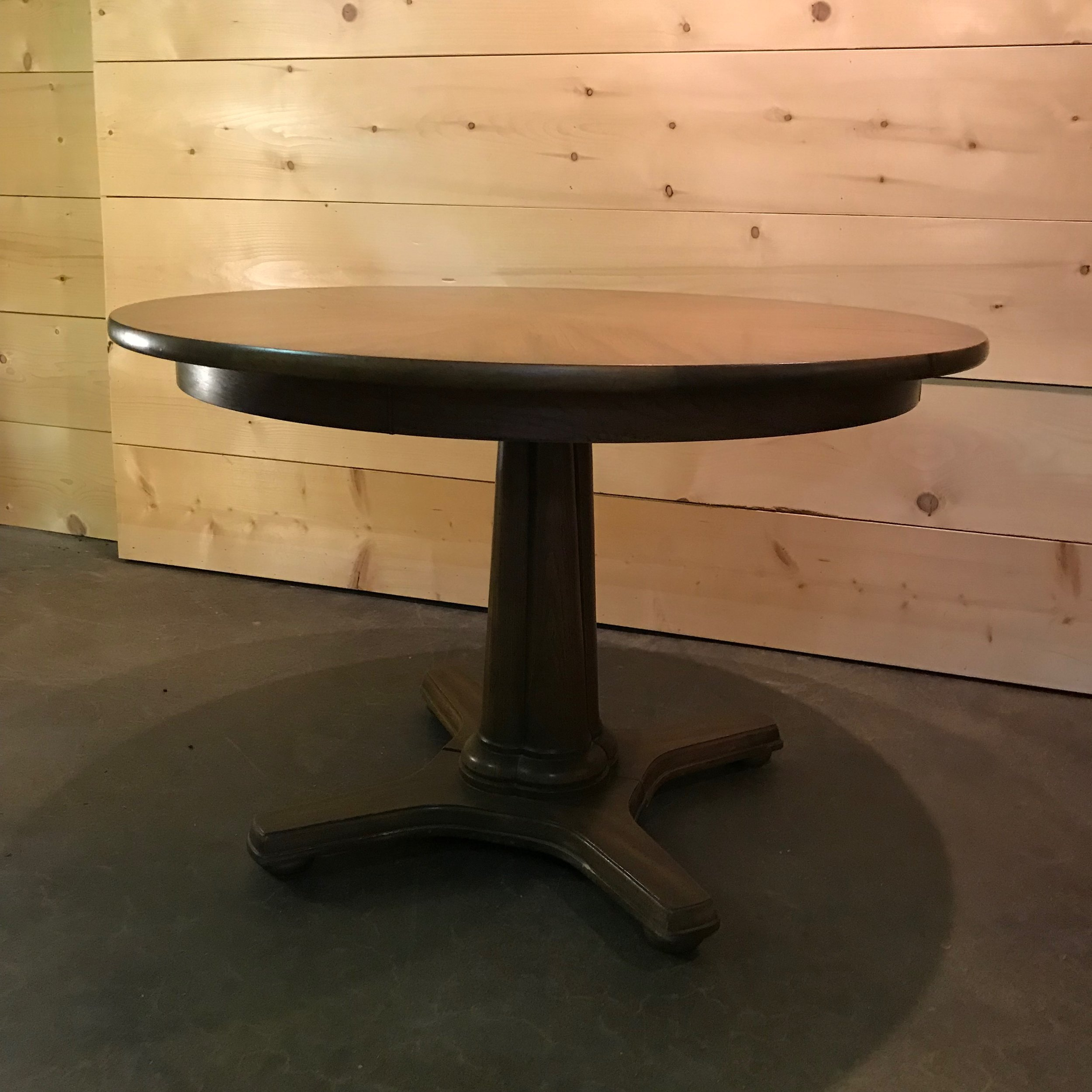 """Chester   Round Mid-Century Modern dining table. Two leaves available. 29"""" tall x 44"""" round."""
