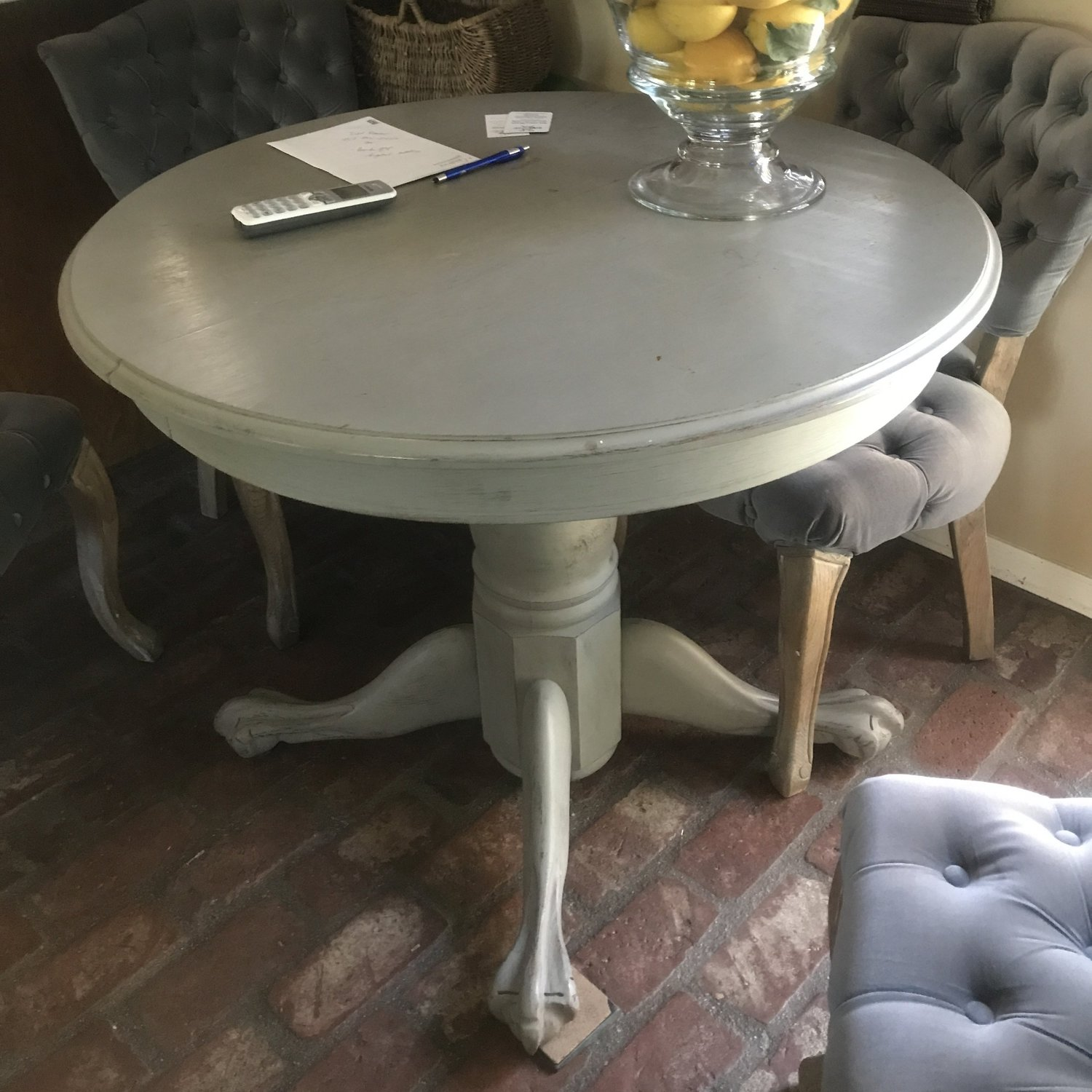 """Francois   French Linen pedestal table with petite claw feet. The perfect sweetheart table. 36"""" round. 31"""" tall."""
