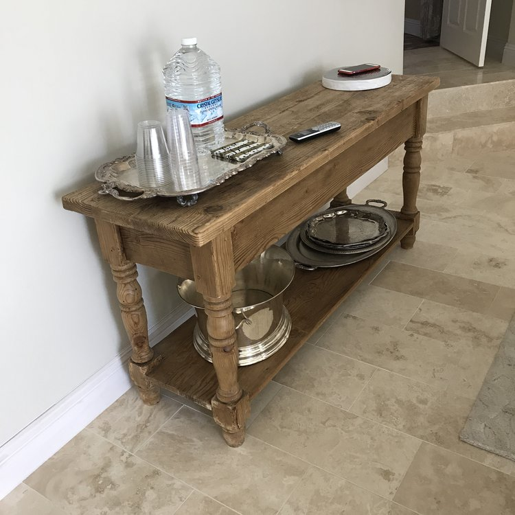 """Clark   Solid English pine one shelf table with two drawers in front and a chunky thick top. Great for use as a gift table or sign in table. Rectangle 60"""" x 18"""". Total height 29"""" tall with the shelf 6"""" off the ground."""